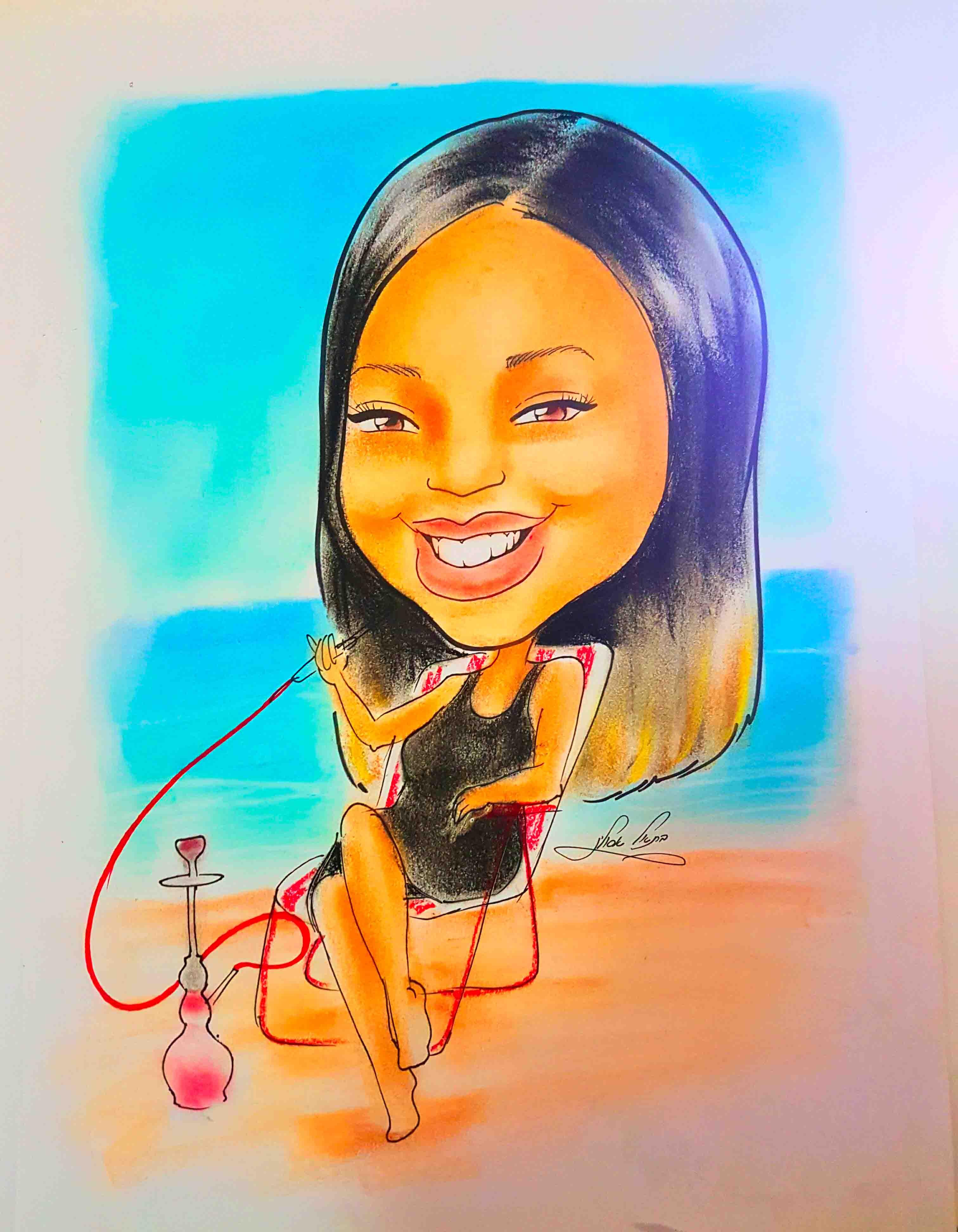 ציור קריקטורה כמתנה אישית ומלאת אהבה ליום הולדת לחבר או חברה