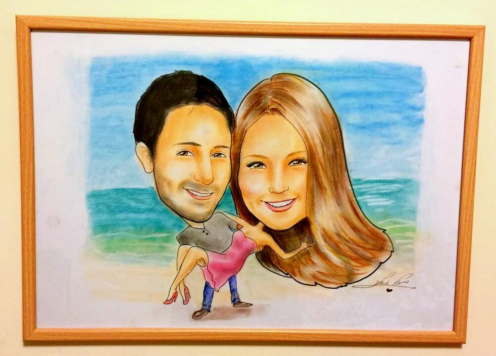 מתנה מיוחדת ליום הולדת או ליום השנה לזוג - ציור קריקטורה זוגית