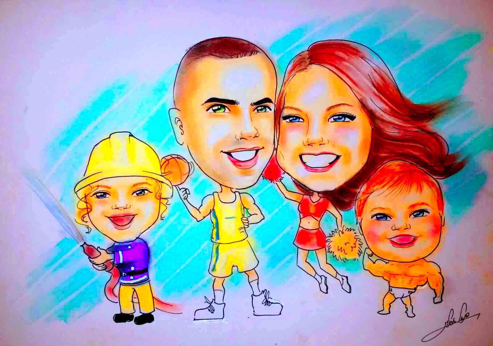 ציור קריקטורה משפחתי מקצועי כחוויה ומתנה למשפחה כמזכרת מאירוע מיוחד