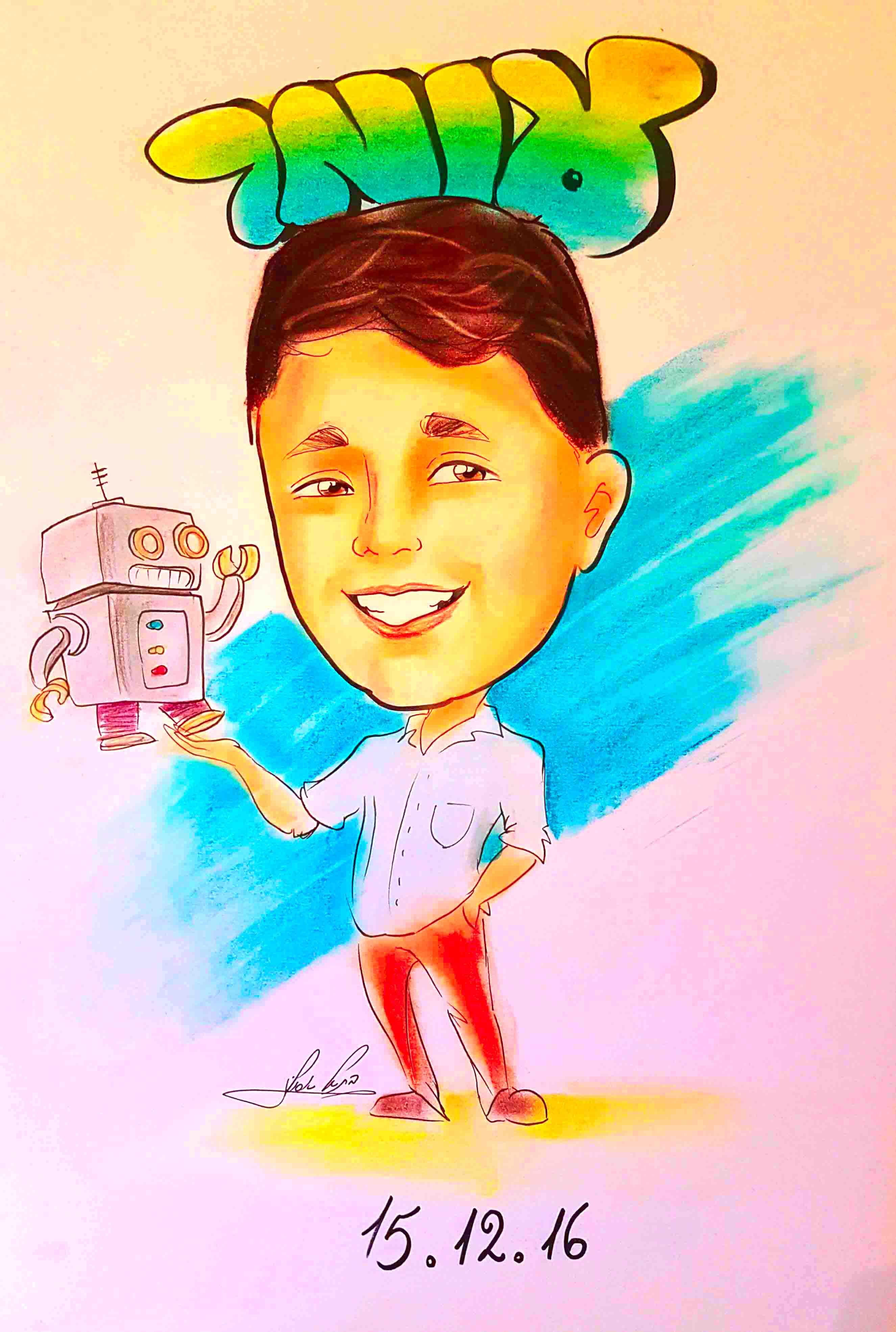 ציור קריקטורה לילד בר המצווה כמתנה ומזכרת מיוחדת מהאירוע